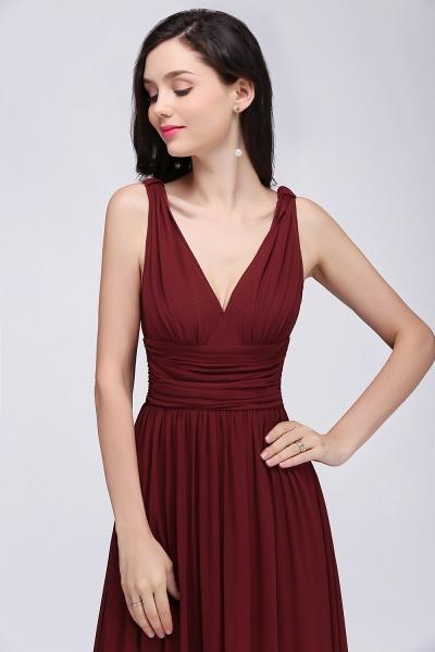 Elegant A-Line Chiffon V-Neck Sleeveless Ruffles Floor-Length Bridesmaid Dresses_5
