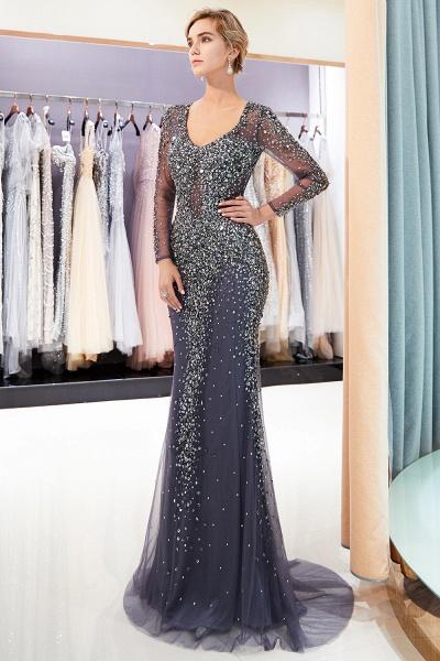 Excellent V-neck Tulle Mermaid Prom Dress_5