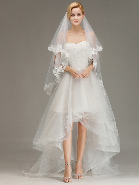 Two Layers Lace Edge Tulle Wedding Veil with Comb_6