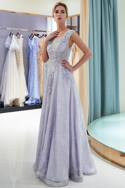 Excellent Jewel Tulle A-line Prom Dress_5