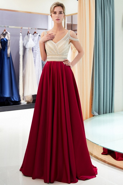 Fascinating V-neck Stretch Satin A-line Prom Dress_5