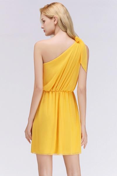 BM0039 Elegant Chiffon One-Shoulder Sleeveless Ruffles Short Bridesmaid Dresses with Bow_2