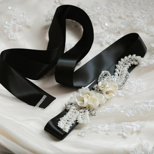 Handmade Flower Pearl Wedding Sash with Beadings_6