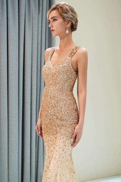 Mermaid V-neck Sleeveless Crystals Beading Floor Length Party Dresses_7
