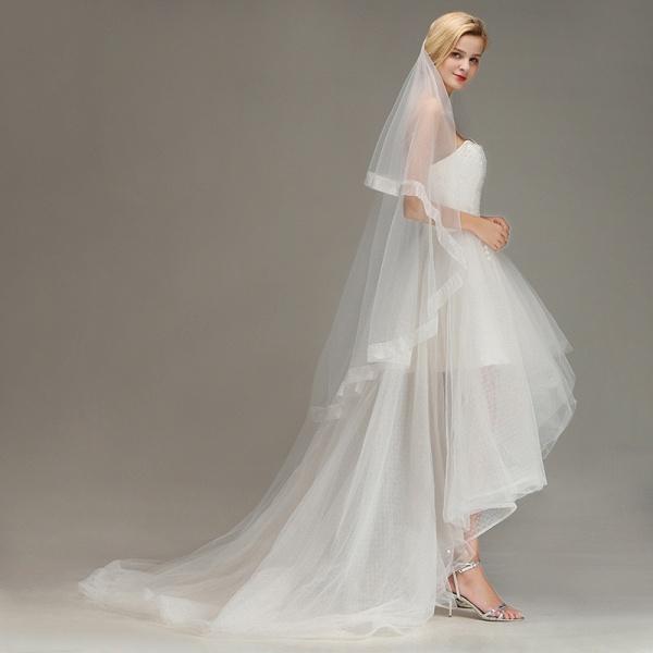 Two Layers Cut Edge Wedding Veil Tulle Bridal Veil_3