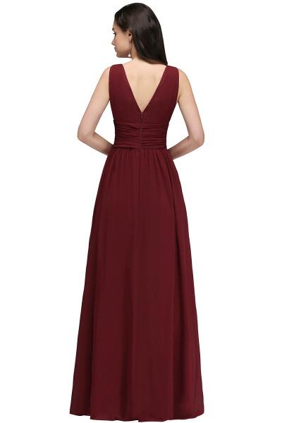 Elegant A-Line Chiffon V-Neck Sleeveless Ruffles Floor-Length Bridesmaid Dresses_2
