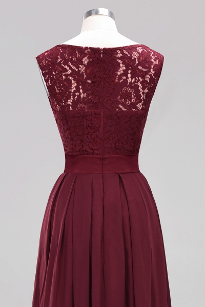 A-line Chiffon Lace Jewel Sleeveless Ruffles Floor-length Bridesmaid Dress_13