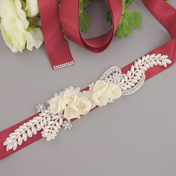 Handmade Flower Pearl Wedding Sash with Beadings_5