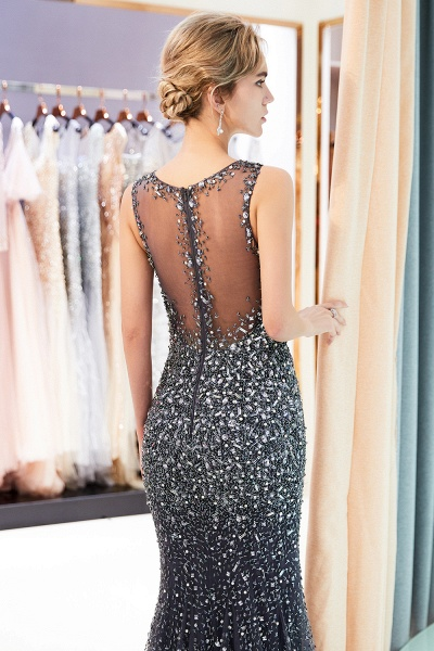 Mermaid V-neck Sleeveless Crystals Beading Floor Length Party Dresses_17