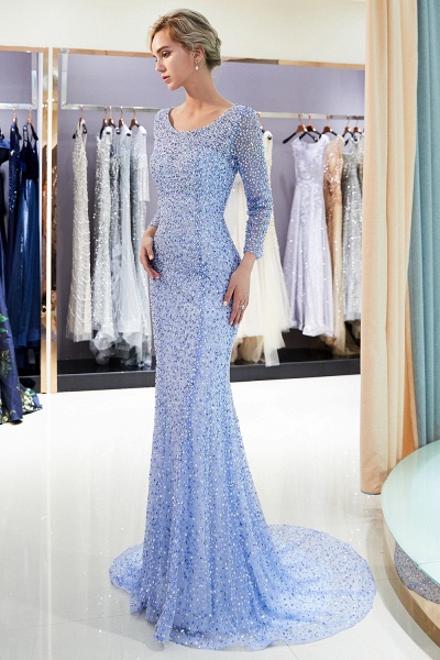 Long Sleeve Mermaid Floor Length Sequins Formal Party Dresses_5