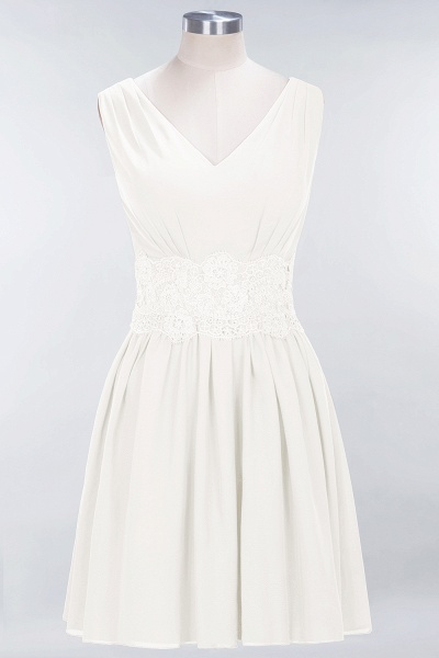 A-line Chiffon Lace V-Neck Sleeveless Mini Bridesmaid Dresses_2