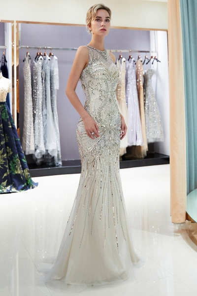 Beautiful Jewel Tulle Mermaid Prom Dress_11