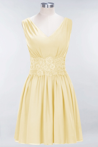 A-line Chiffon Lace V-Neck Sleeveless Mini Bridesmaid Dresses_17