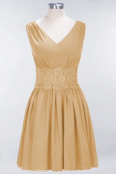A-line Chiffon Lace V-Neck Sleeveless Mini Bridesmaid Dresses_13