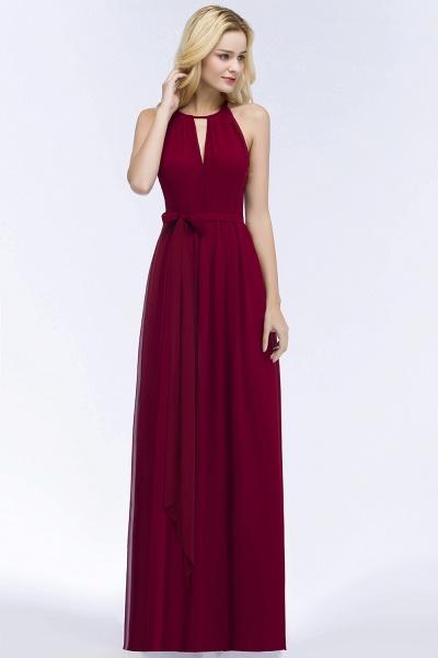 Vintage A-Line Chiffon Halter Sleeveless Ruffles Floor-Length Bridesmaid Dresses with Bow Sash_3