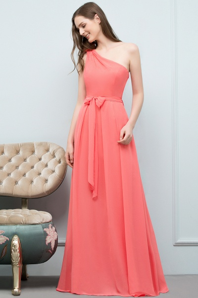 A-line Chiffon One-Shoulder Sleeveless Floor-Length Bridesmaid Dress with Bow Sash_4
