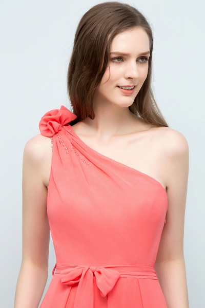 A-line Chiffon One-Shoulder Sleeveless Floor-Length Bridesmaid Dress with Bow Sash_6