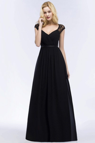 Elegant Mermaid Lace V-Neck Sleeveless Floor-Length Bridesmaid Dresses with Sash_6