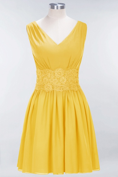 A-line Chiffon Lace V-Neck Sleeveless Mini Bridesmaid Dresses_16