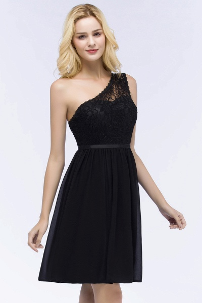 A-Line Chiffon Lace One-shoulder Short-Sleeves Knee-Length Bridesmaid Dresses with Sash_5