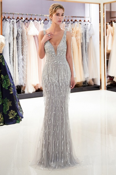 Latest Vneck Beading Fringe Tulle Mermaid Prom Dress_4