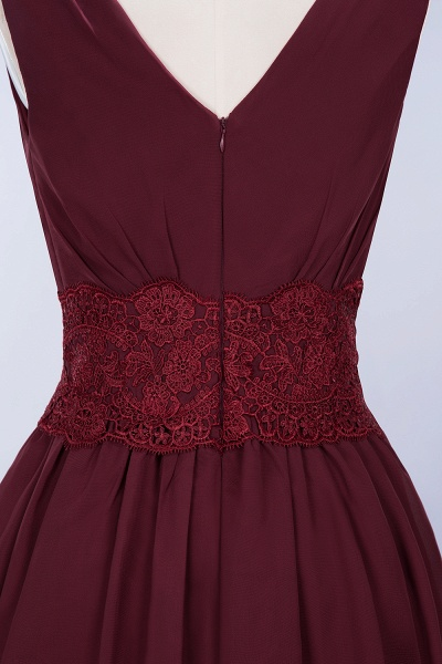 A-line Chiffon Lace V-Neck Sleeveless Mini Bridesmaid Dresses_41