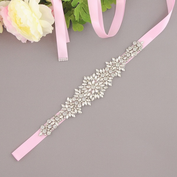 Satin Crystal Wedding Sash with Rhinestone_4
