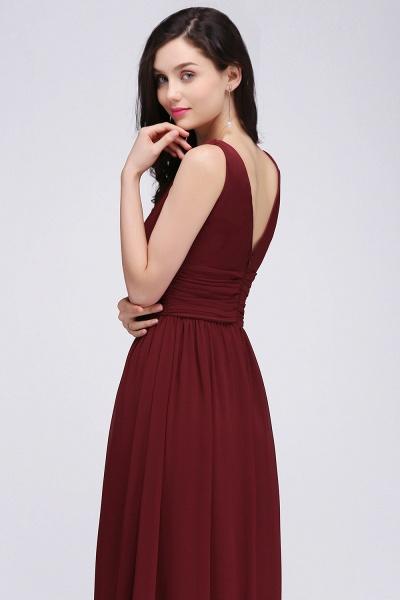 Elegant A-Line Chiffon V-Neck Sleeveless Ruffles Floor-Length Bridesmaid Dresses_6