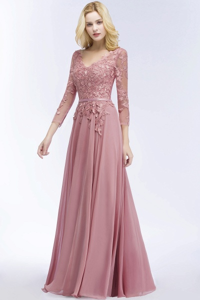 A-line Chiffon Appliques V-Neck Long-Sleeves Floor-Length Bridesmaid Dresses_3