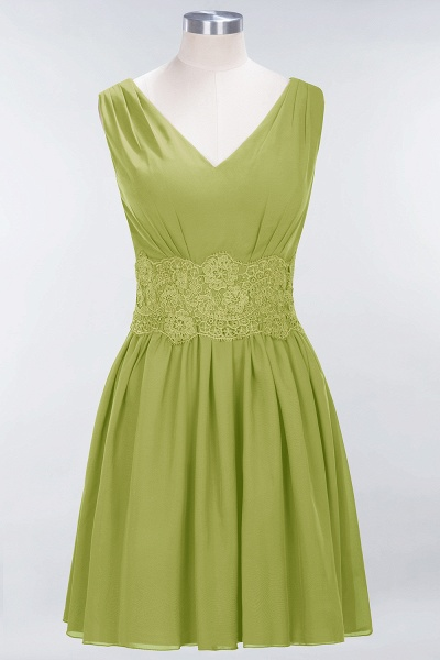 A-line Chiffon Lace V-Neck Sleeveless Mini Bridesmaid Dresses_32