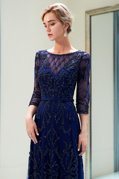 A-line Illusion Neckline Beading Evening Gowns with Sleeves_16