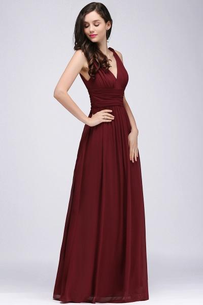 Elegant A-Line Chiffon V-Neck Sleeveless Ruffles Floor-Length Bridesmaid Dresses_3