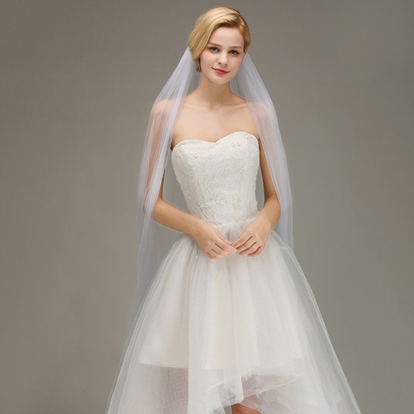 One Layer Cathedral Tulle Wedding Veil with Comb_4