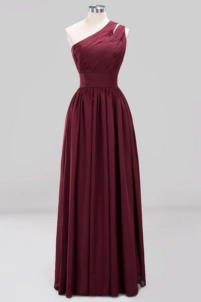 Elegant A-Line Burgundy Chiffon One-Shoulder Sleeveless Ruffles Floor-Length Bridesmaid Dresses_7