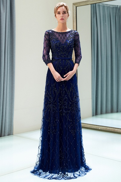 A-line Illusion Neckline Beading Evening Gowns with Sleeves_13