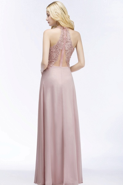 A-line Chiffon Appliques V-neck Sleeveless Floor-Length Bridesmaid Dresses with Pearls_2