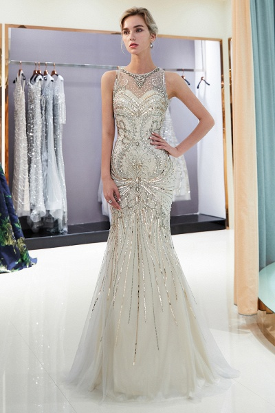 Beautiful Jewel Tulle Mermaid Prom Dress_6