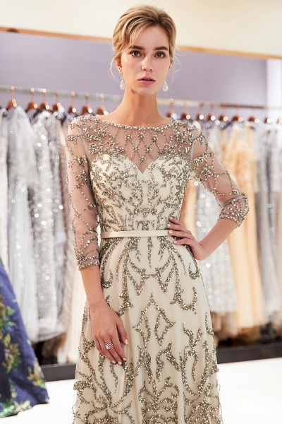 A-line Illusion Neckline Beading Evening Gowns with Sleeves_9