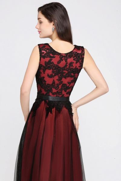 Elegant A-Line Tulle Lace Sleeveless Floor-Length Bridesmaid Dress with Sash_2