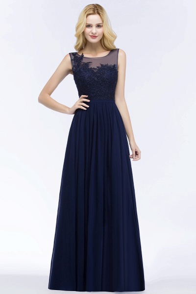 A-line Chiffon Appliques Scoop Sleeveless Floor-Length Bridesmaid Dresses_1