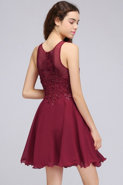 A-line Chiffon Lace Jewel Sleeveless Short Bridesmaid Dresses with Appliques_2