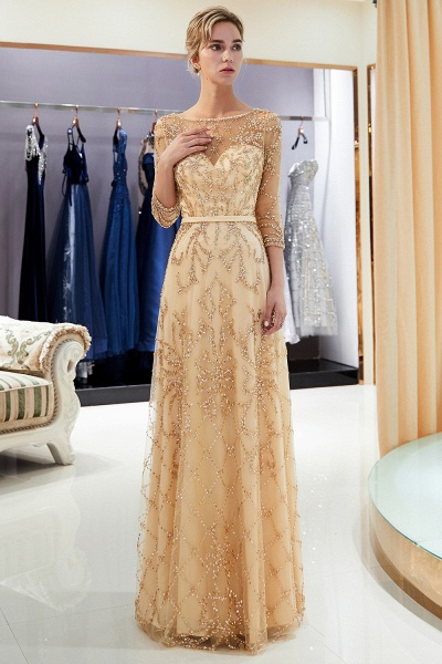 A-line Illusion Neckline Beading Evening Gowns with Sleeves_26