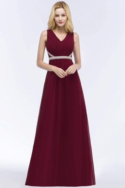 A-line Chiffon V-neck Long-Sleeveless Ruffled Floor-Length Bridesmaid Dresses with Beading Sash_1