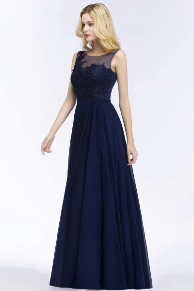 A-line Chiffon Appliques Scoop Sleeveless Floor-Length Bridesmaid Dresses_3