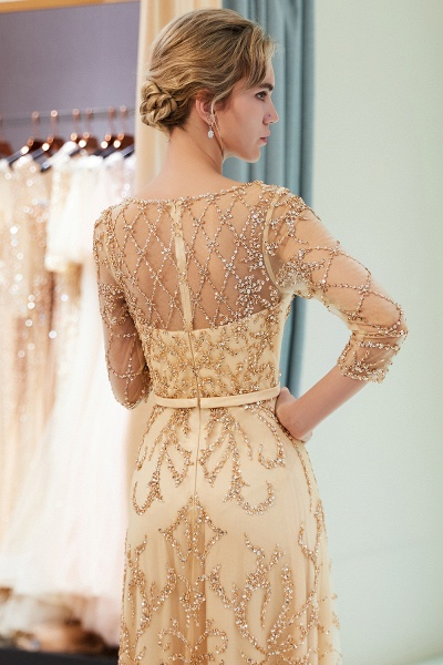 A-line Illusion Neckline Beading Evening Gowns with Sleeves_24