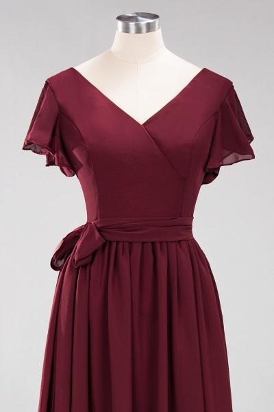elegant A-line Chiffon V-Neck Short-Sleeves Floor-Length Bridesmaid Dresses with Bow Sash_11