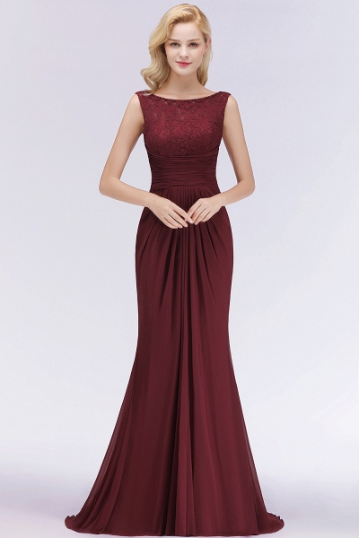 BM0058 Burgundy Chiffon Lace Scoop A-Line Ruffles Long Bridesmaid Dresses