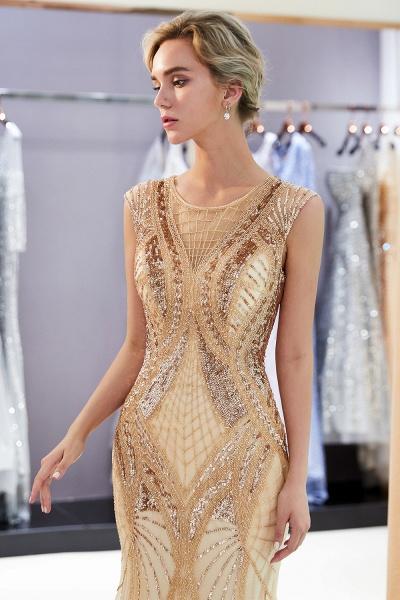Sleeveless Mermaid Golden Sequins Beading Formal Prom Dresses_6