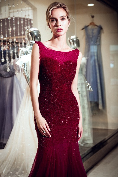 Mermaid Sleeveless Sequined Tulle Burgundy Long Evening Gowns_7
