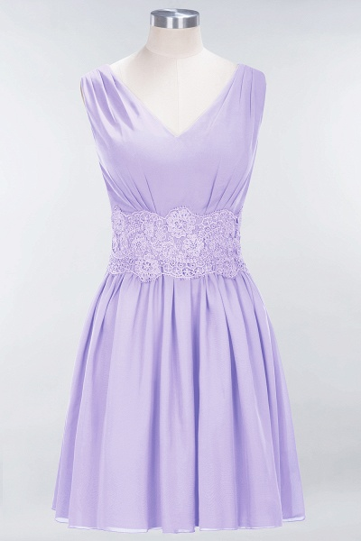 A-line Chiffon Lace V-Neck Sleeveless Mini Bridesmaid Dresses_20